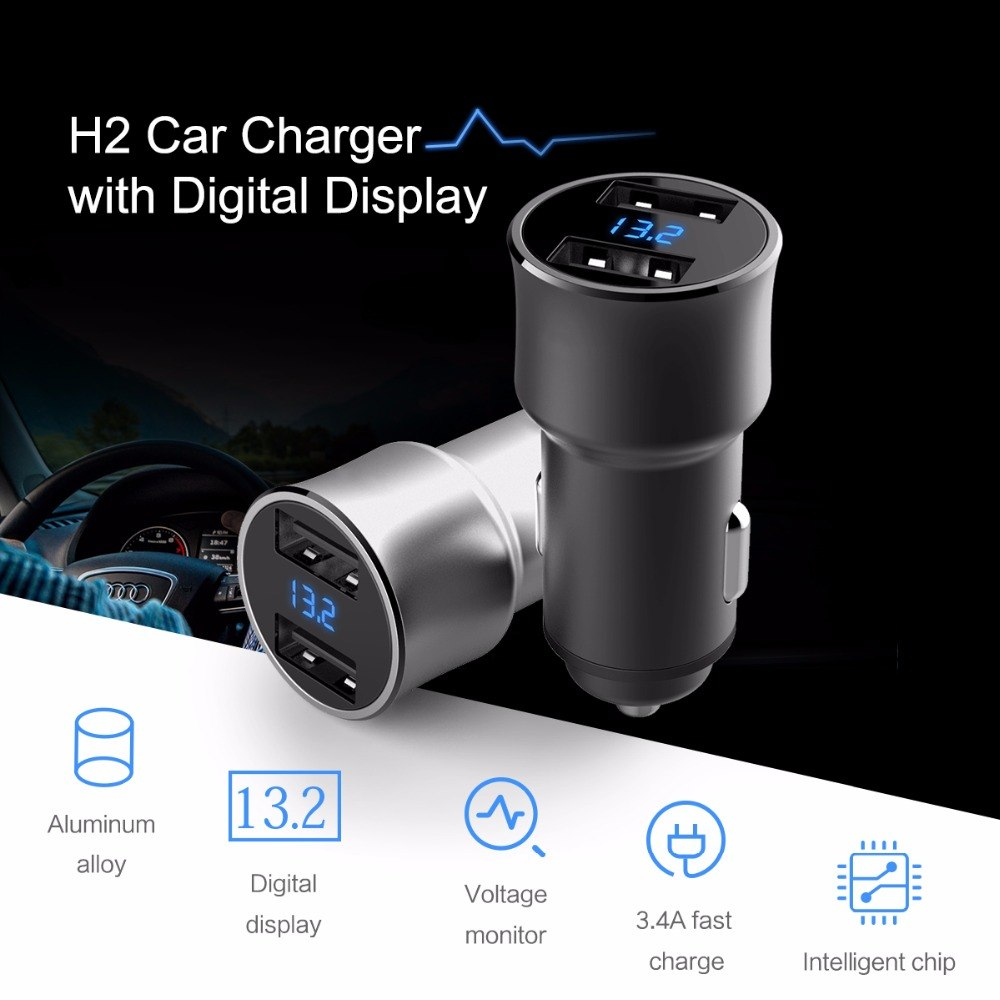 Aluminum Metal Digital Display Car Charger