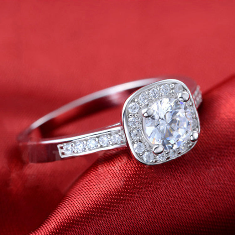 Luxury Silver Engagement Ring