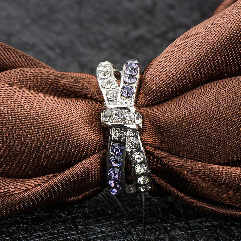 Purple Crystal BowKnot Ring
