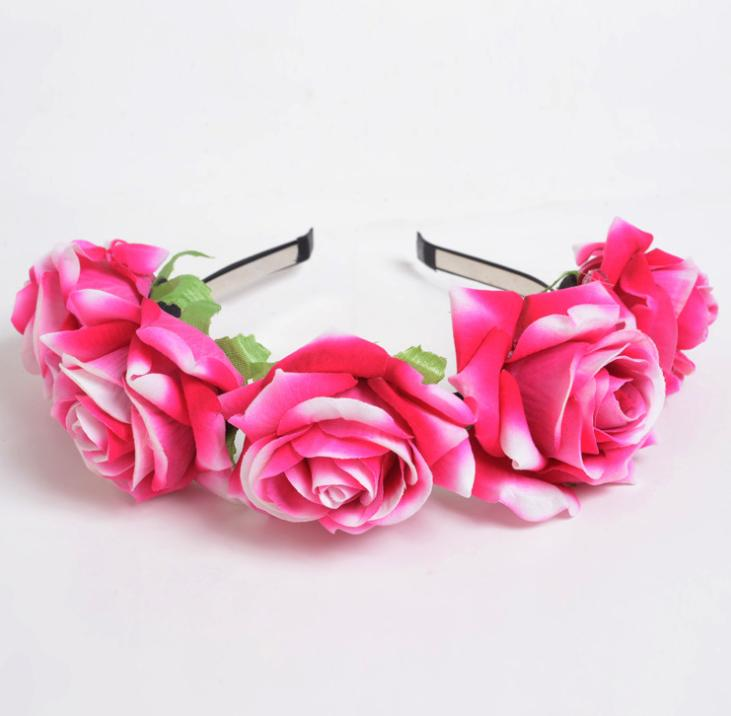 New velvet simulation rose flower wreath headband seaside holiday shooting hair accessories