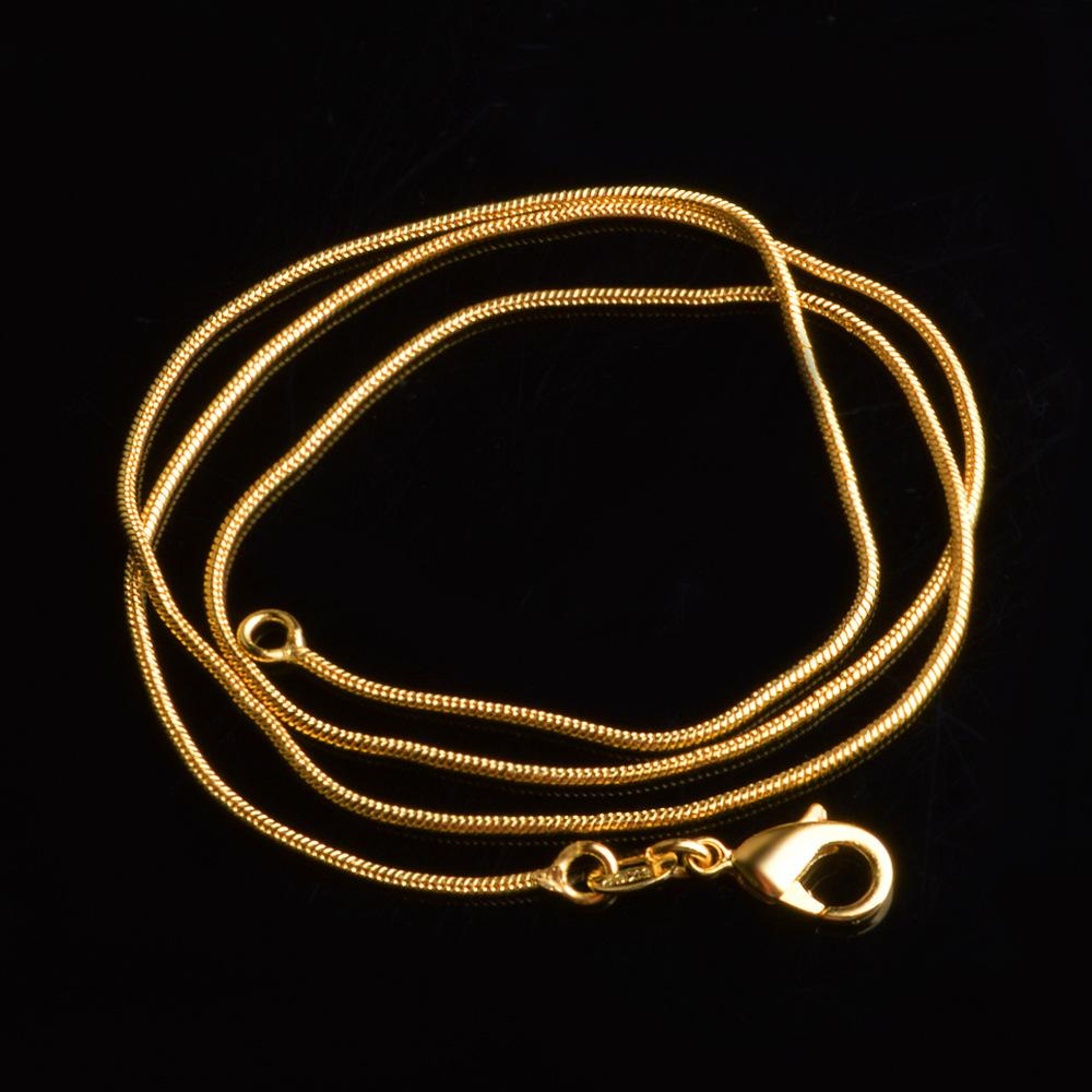 Kiteal color Gold / Silver Plated Necklace 1mm 16 18 20 22 24 26 28 30 inch snake chain Necklace of Prata 925 Stamp