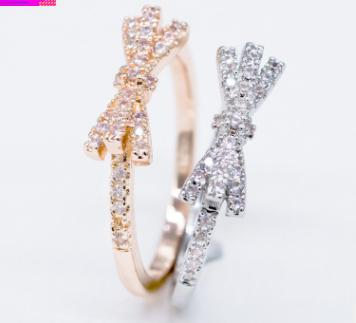 Fashion literary and diamond-encrusted bow ring Simple strips and tail ring ring student jewelry