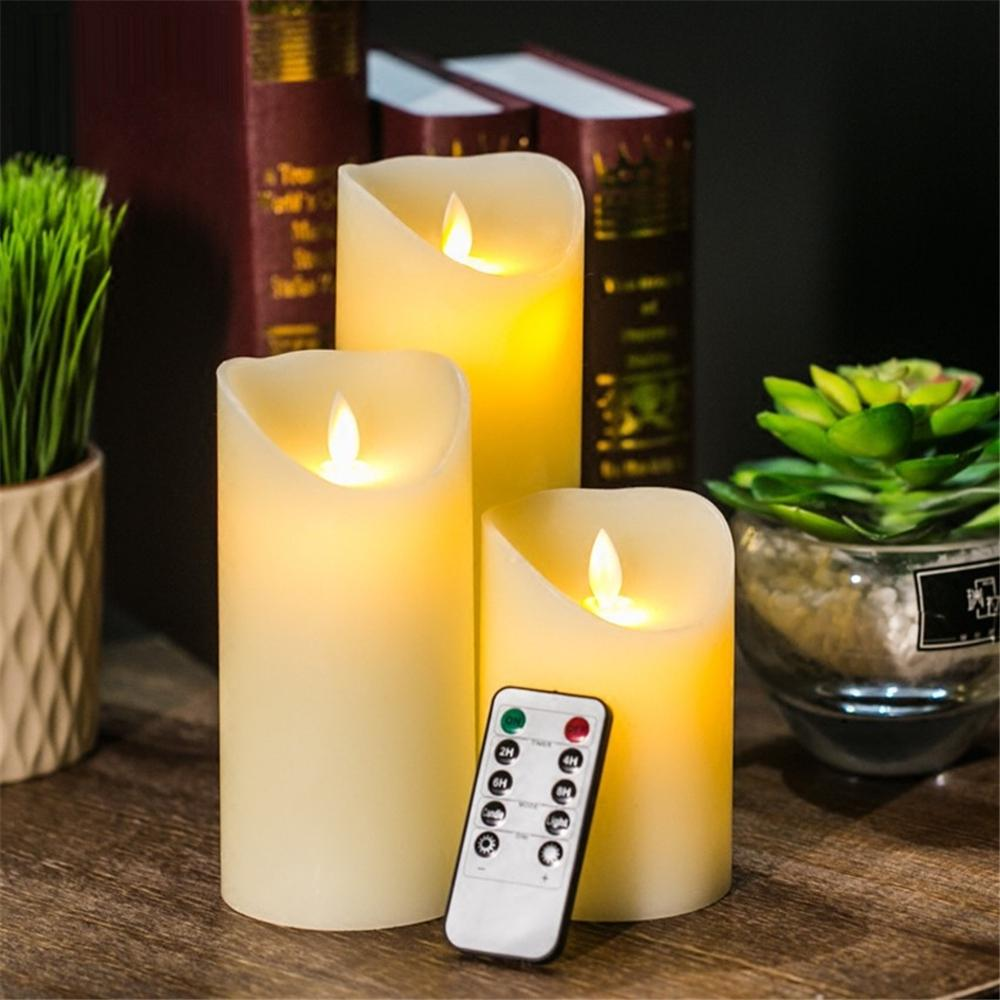 Remote Control /LED/ Flameless Moving Wick Simulation Candle Lamp Party Wedding 3PCS