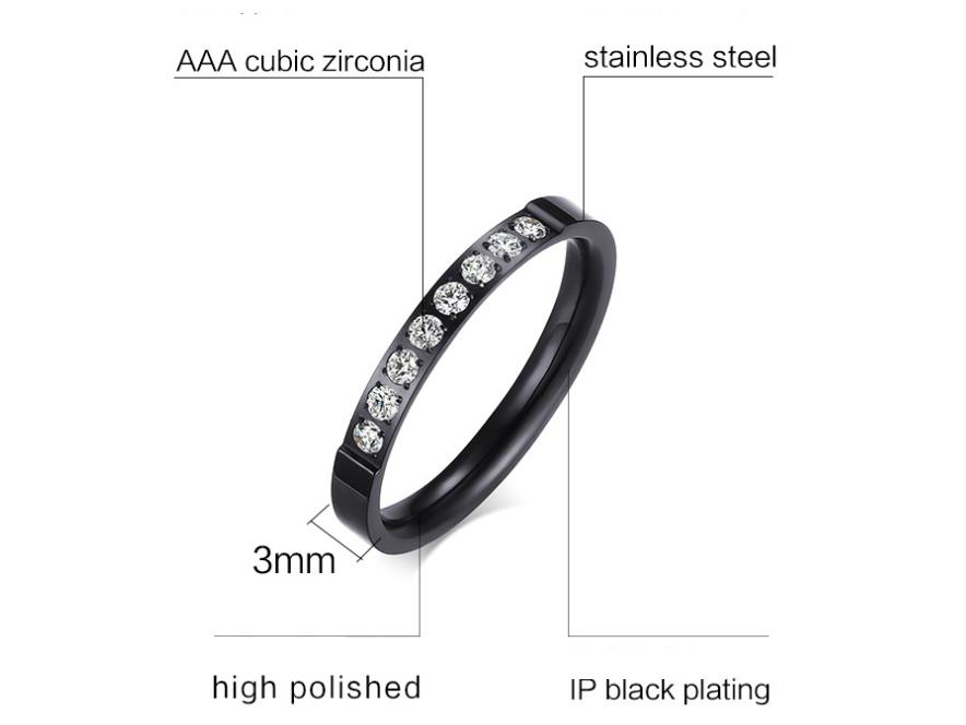 Lady's Ring 3MM Stainless Steel Zircon Ring