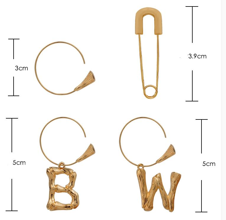 Europeans and Americans retro simple letters Earrings women''s net red fashionable cold wind golden two-wear temperament earrings earrings