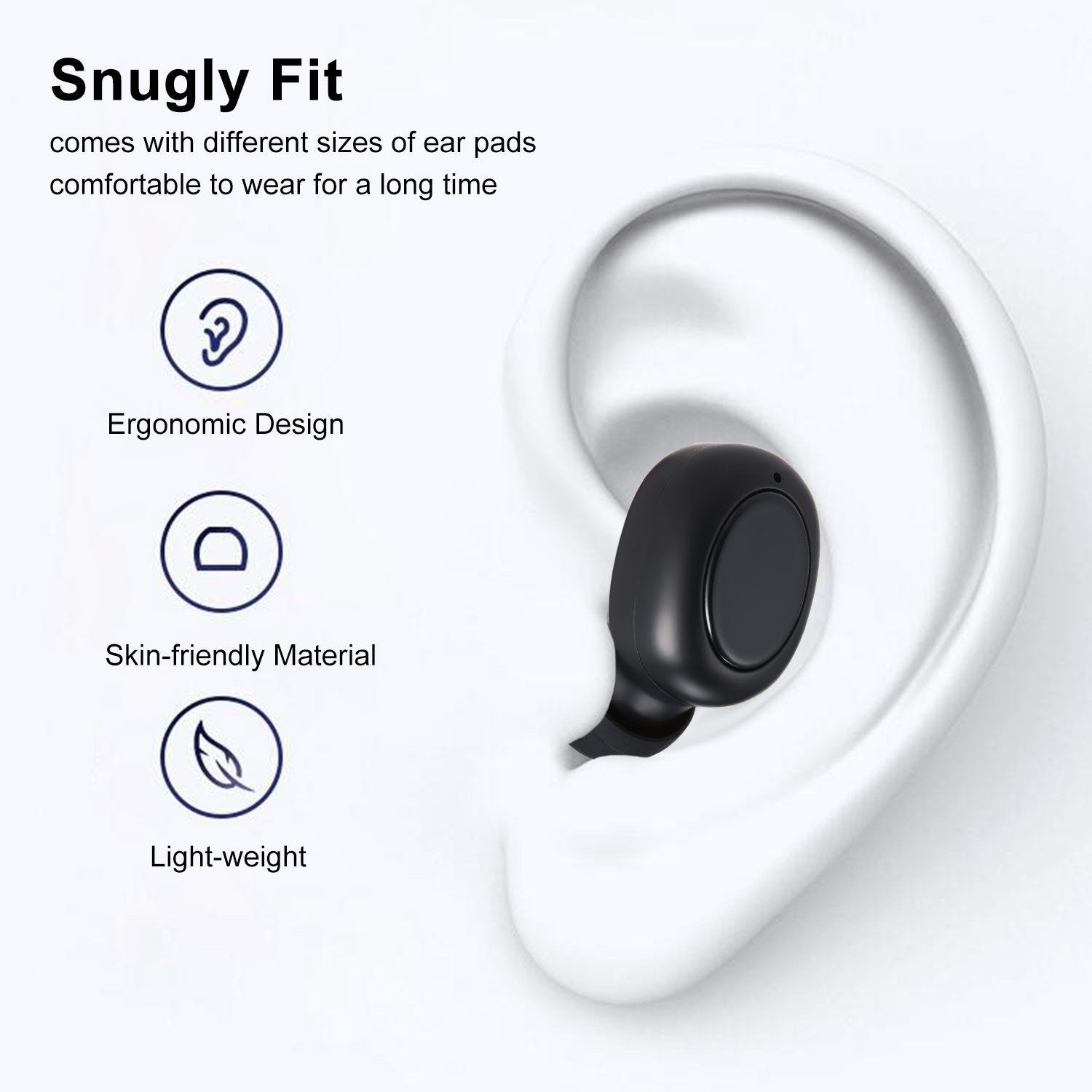 True Wireless Earbuds 5.0 Bluetooth Headphones in-Ear Stereo Wireless Earphones with Mic 2200mAh Charging Case One-Step Pairing