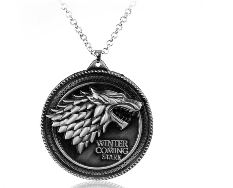 Ice and Fire Song Power Game Stark Family Wolf Head Sign Necklace