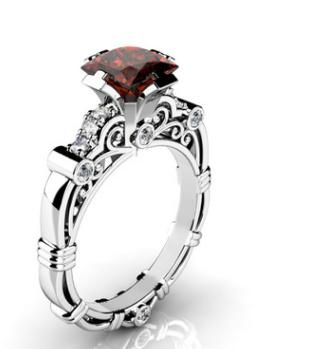 Copper silver plated square diamond zircon hollow scroll pattern ring