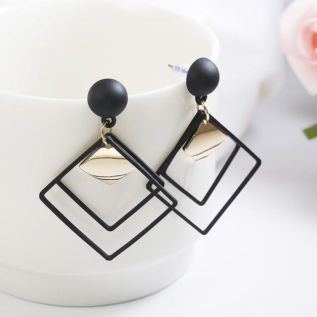 Round wooden rectangular metal tassel long earrings