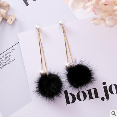 Autumn and winter new wild color mane pearl snake bone chain hair ball earrings simple tassel long earrings female