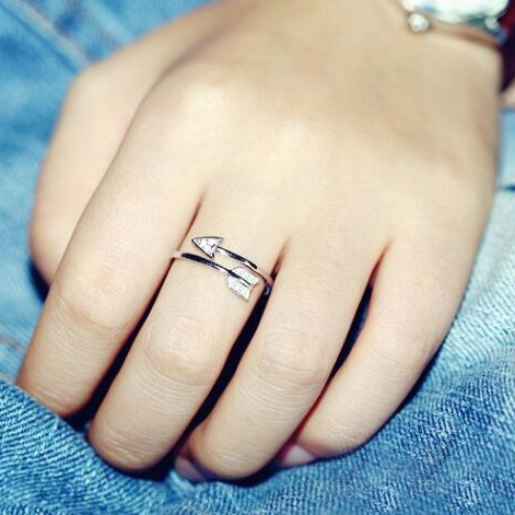 Crystal Encrusted Silver Arrow Ring
