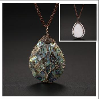 Natural color shellfish abalone shell winding necklace