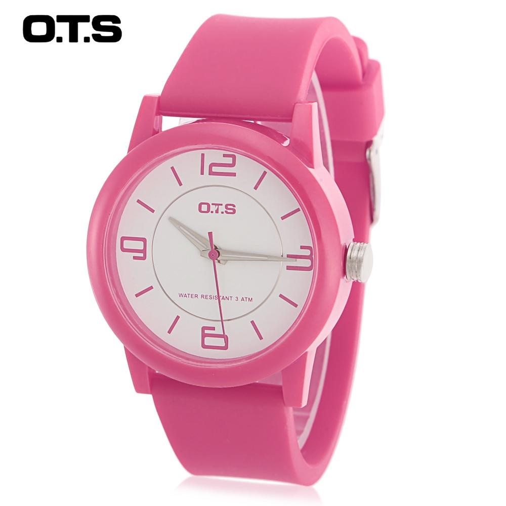 OTS T1145G Children Quartz Watch 30m Water Resistance Luminous Pointer Rubber Band Wristwatch