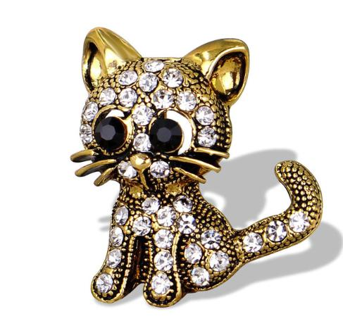Lively Pride Cat Brooch for Party Shell Metal Crown Blue Crystal Enamel Pin Black Animal Brooch for Women Jewelry Accessories
