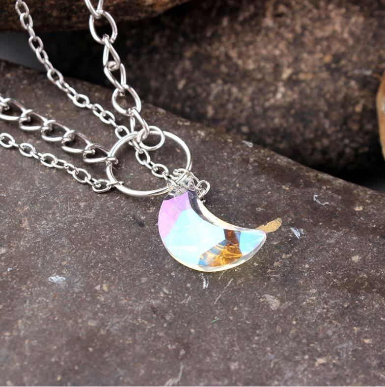 Crystal Moon Pendant Clavicle Chain