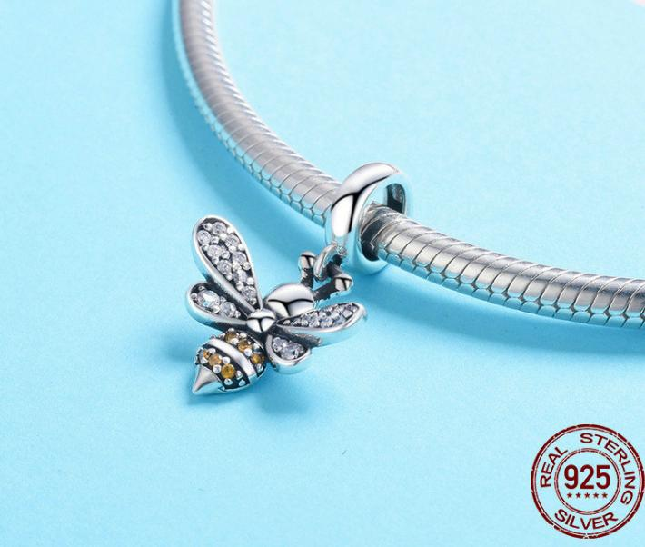 2018 new simple bee story pendant 925 sterling silver bracelet beaded diy necklace jewelry accessories SCC821