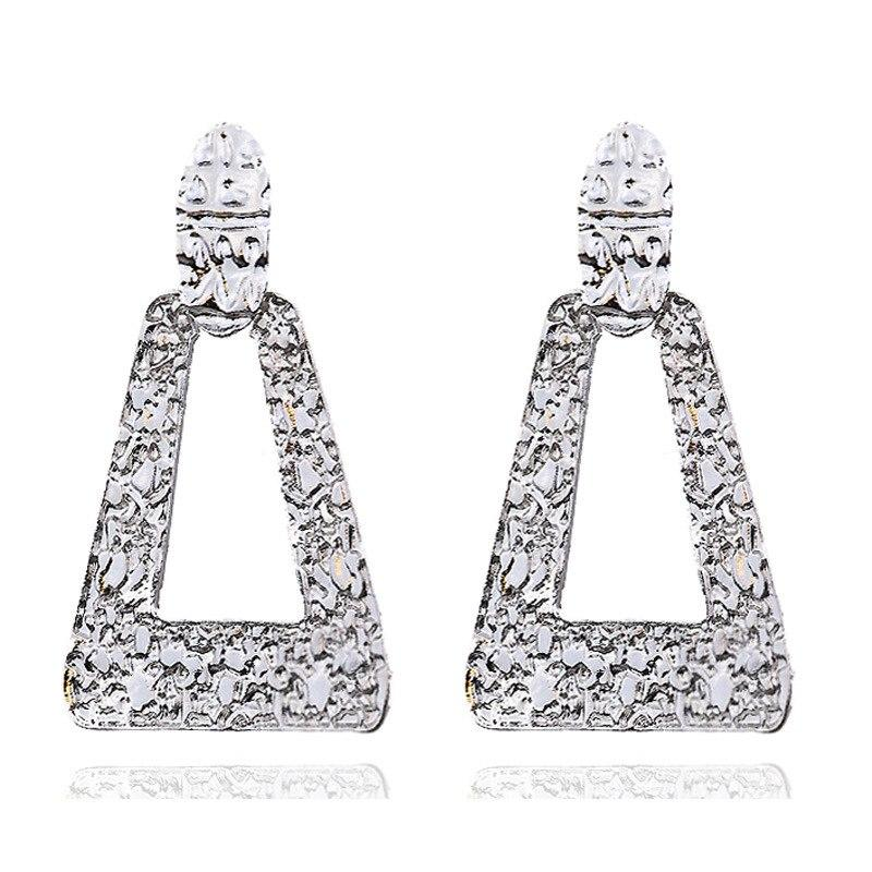 Big Vintage Earrings for Women Gold Silver Black Geometric Statement Earring 2018 Metal Earing Hanging Fashion Jewelry