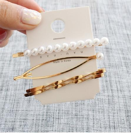 Metal pearl hairpin combination