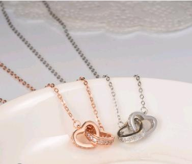 Fashion 925 sterling silver double round double love peach heart-shaped necklace clavicle chain women's jewelry