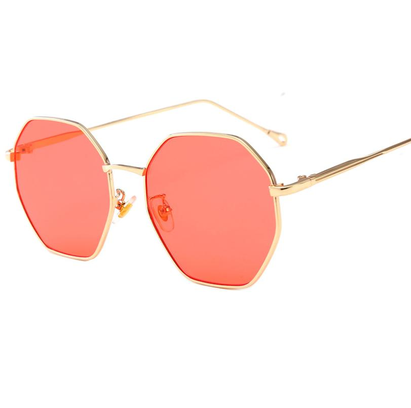 2019 new fashion sunglasses female metal polygonal large box ocean color lens tide sunglasses net red glasses
