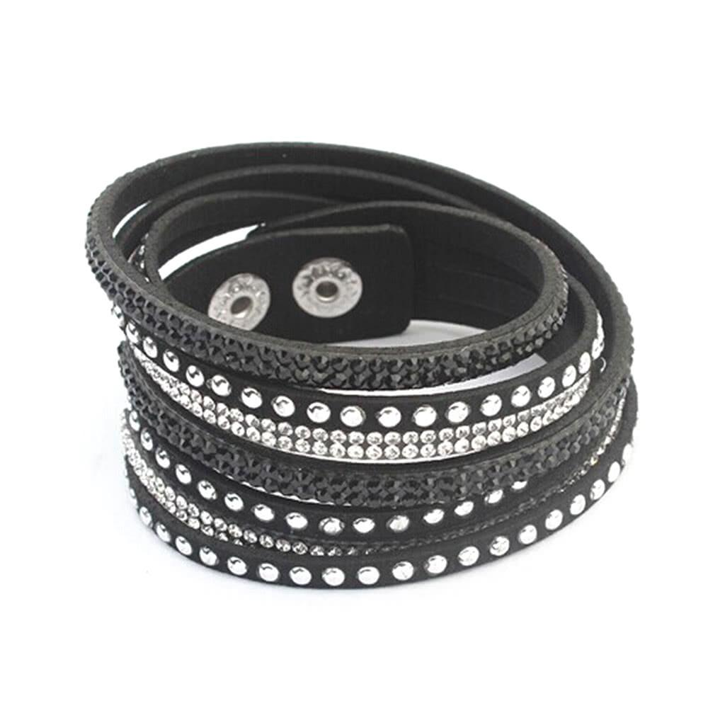 Gothic Women Fashion Multilayer Wrap Crystal Leather Wide Wristband Cuff Bangle Bracelet Punk Jewelry