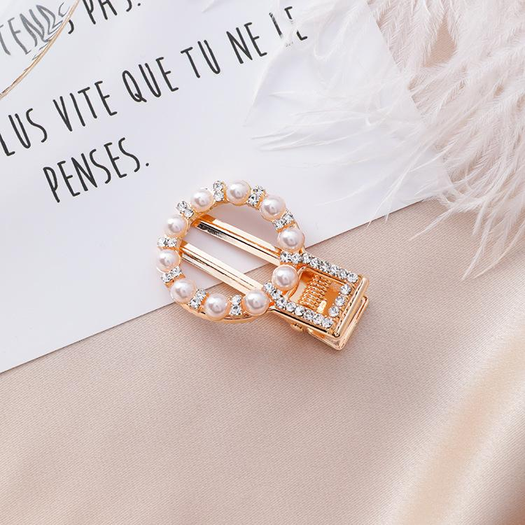 Diamond Pearl Hairpin Round Square Triangle Love Duckbill Clip