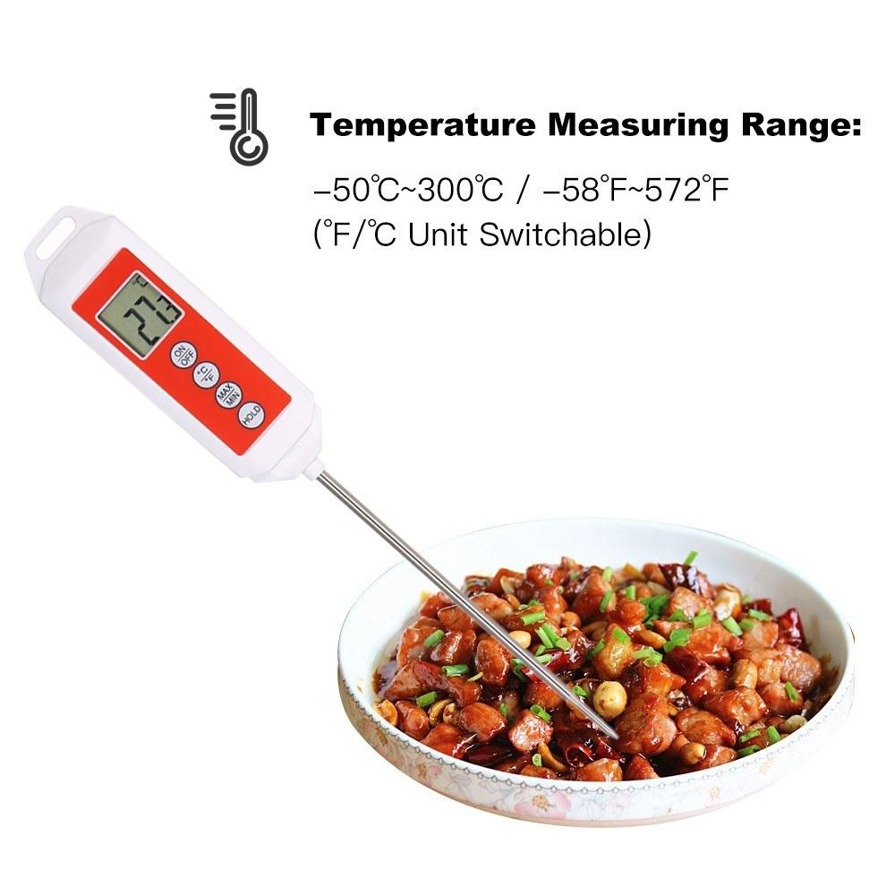 Electronic Digital Thermometer Probe BBQ Cooking Meat Food Temperature Tester High Accuracy with LCD Display Temperature Gauge Kitchen Tools