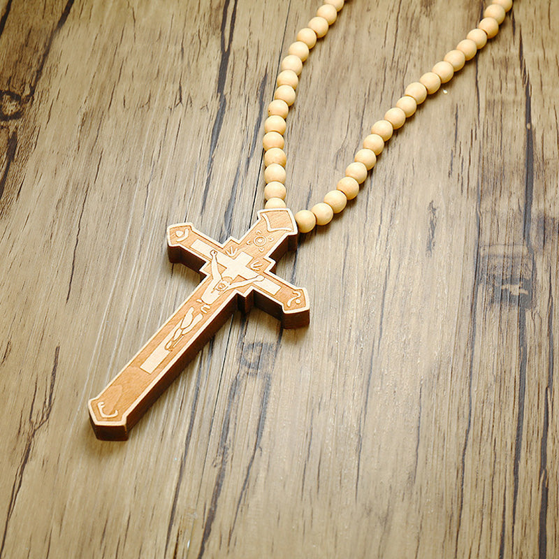 Wooden Carved Rosary Pendant