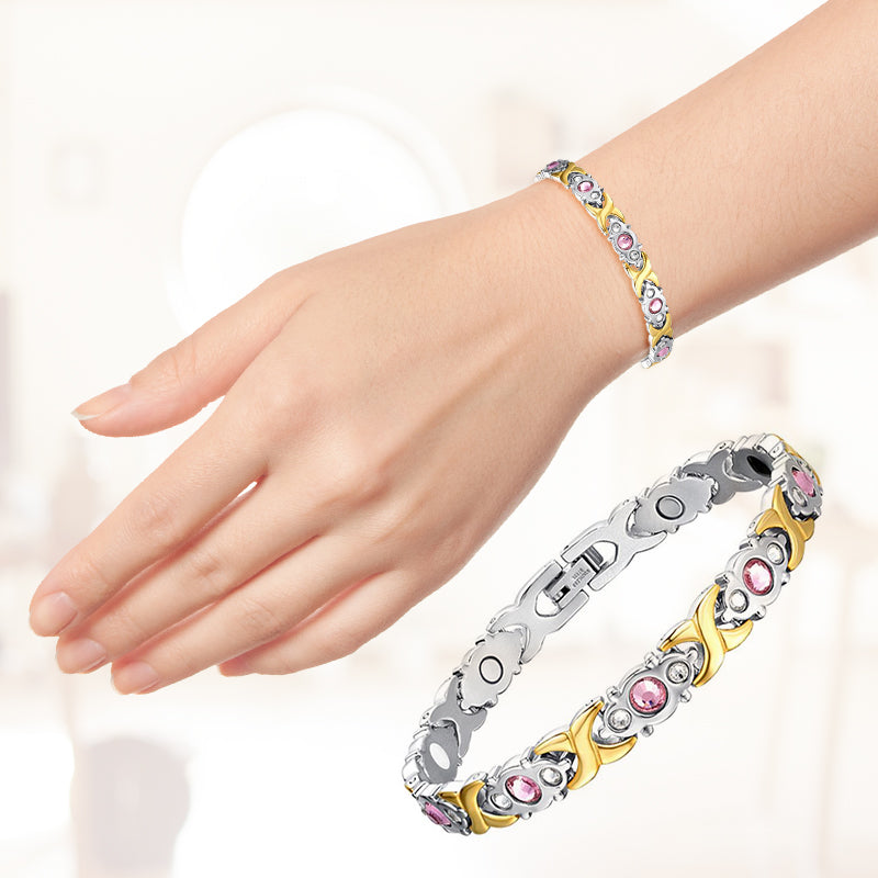 Ladies Crystal Gem Stainless Steel Health Bracelet/Power Balance Bracelet