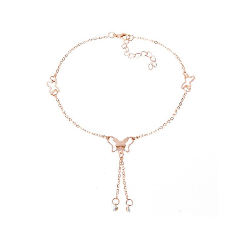 Butterfly Rhinestone Anklet With tassel Pendants