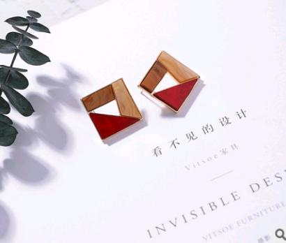 Acrylic texture color matching earrings personality hollow geometric round box earrings wild earrings
