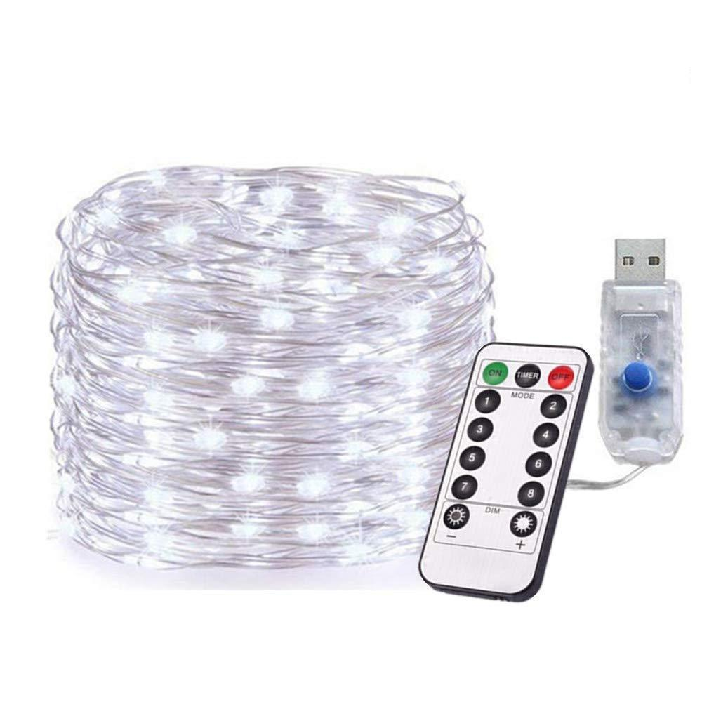 2packs DC5V USB 5M LED Silver Copper Wire String Lights with Remote Controller