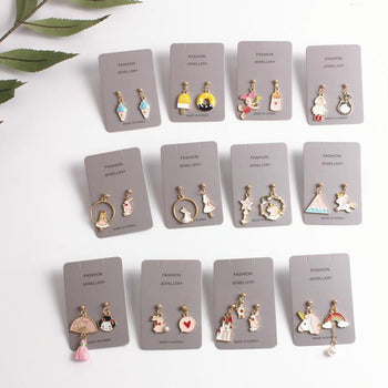 Cartoon asymmetric earrings