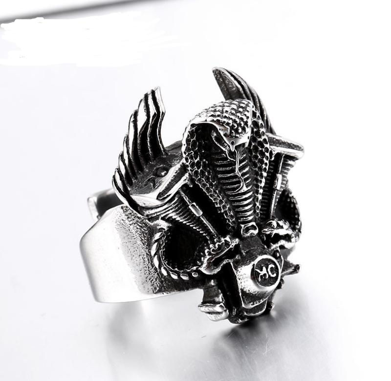 Stainless steel cobra motorcycle ring