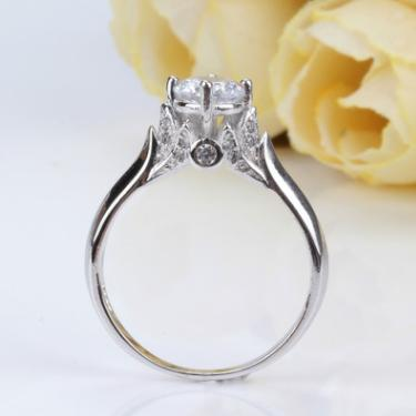 New imitation carat diamond ring double swan diamond zircon ring female ring wedding engagement white copper ring