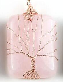Crystal Life Tree Pendant Rose Gold Copper Wire Winding Lucky Tree Pendant Nothing Brand Square Pendant