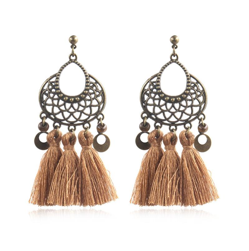 European and American fashion hot tassel earrings women Creative exaggerated hollow U-shaped woven long earrings jewelry