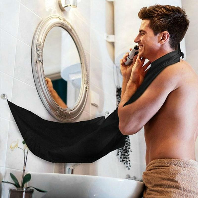 120x80cm Man Bathroom Black Beard Hair Shave Cleaning Protecter Apron