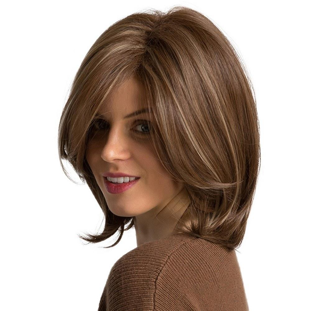 Women Synthetic Wigs Side Parted Heat Resistant Highlighted Bob Brown Straight Hair Wig Elastic Wig Cap