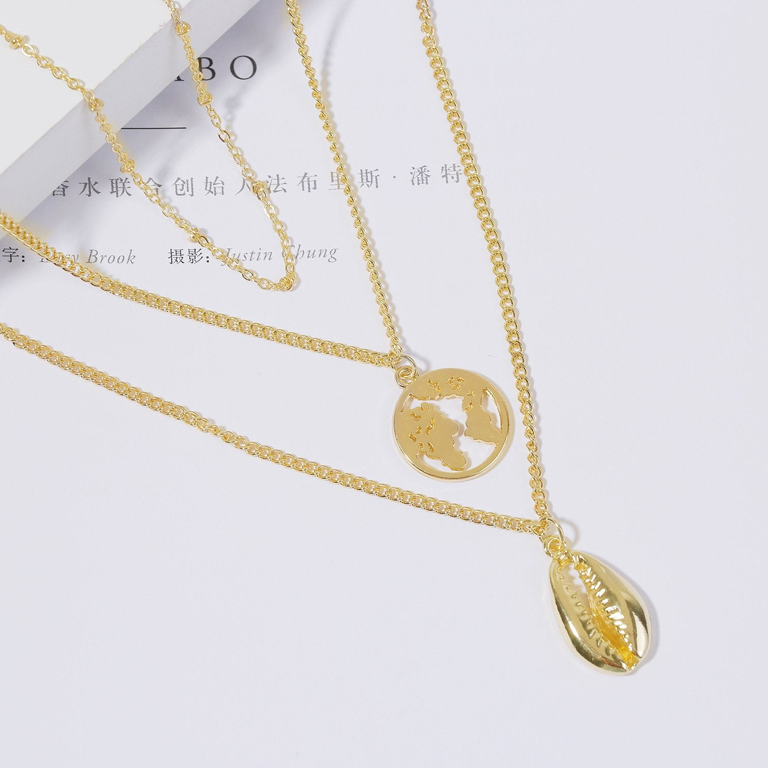 Shell three-layer pendant necklace