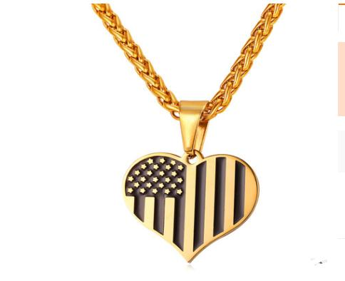 316L stainless steel military flag necklace