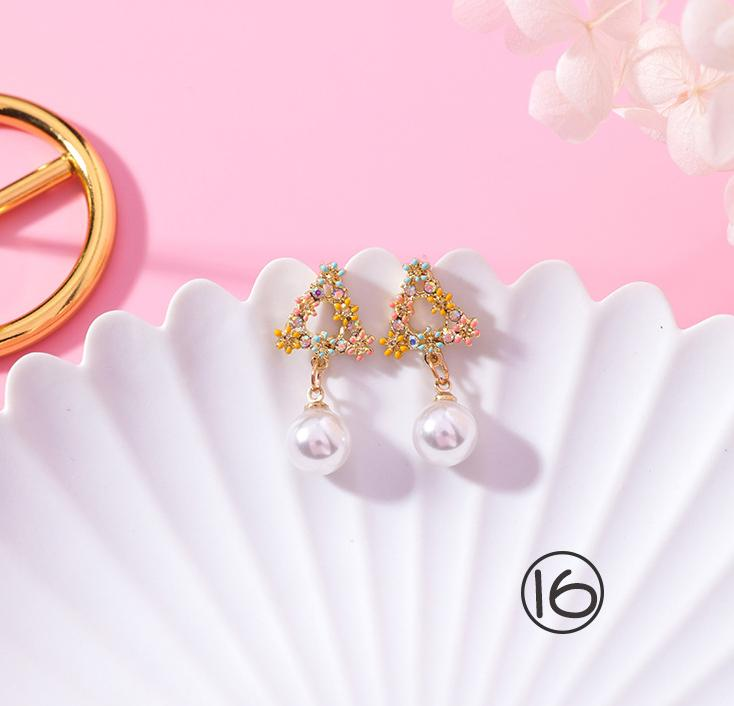 925 silver needle sweet color wreath ring earrings girl color diamond petals earrings shell earrings