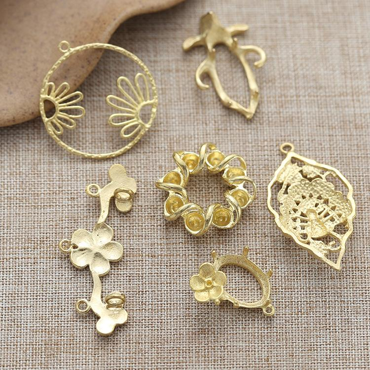 Diy handmade jewelry accessories costume tiara hairpin brooch pure copper material ear hook flower leaves branches