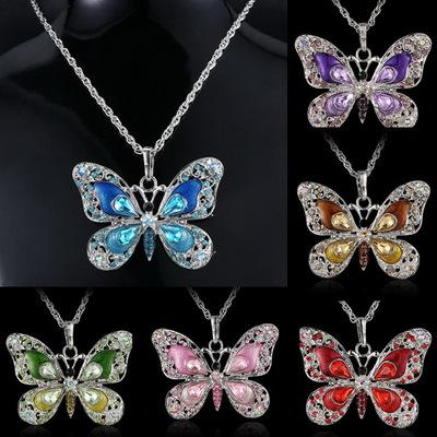 European retro Butterfly Necklace Pendant multicolor manufacturers selling animal aliexpress goods trade Necklace