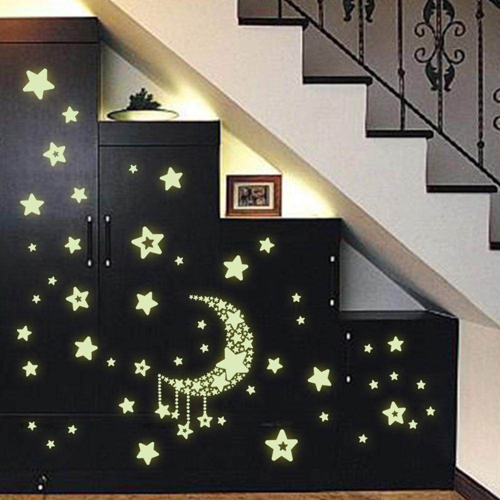 Luminous Stars Moon Wall Stickers Home Glow In The Dark Stars For Kids Baby Room