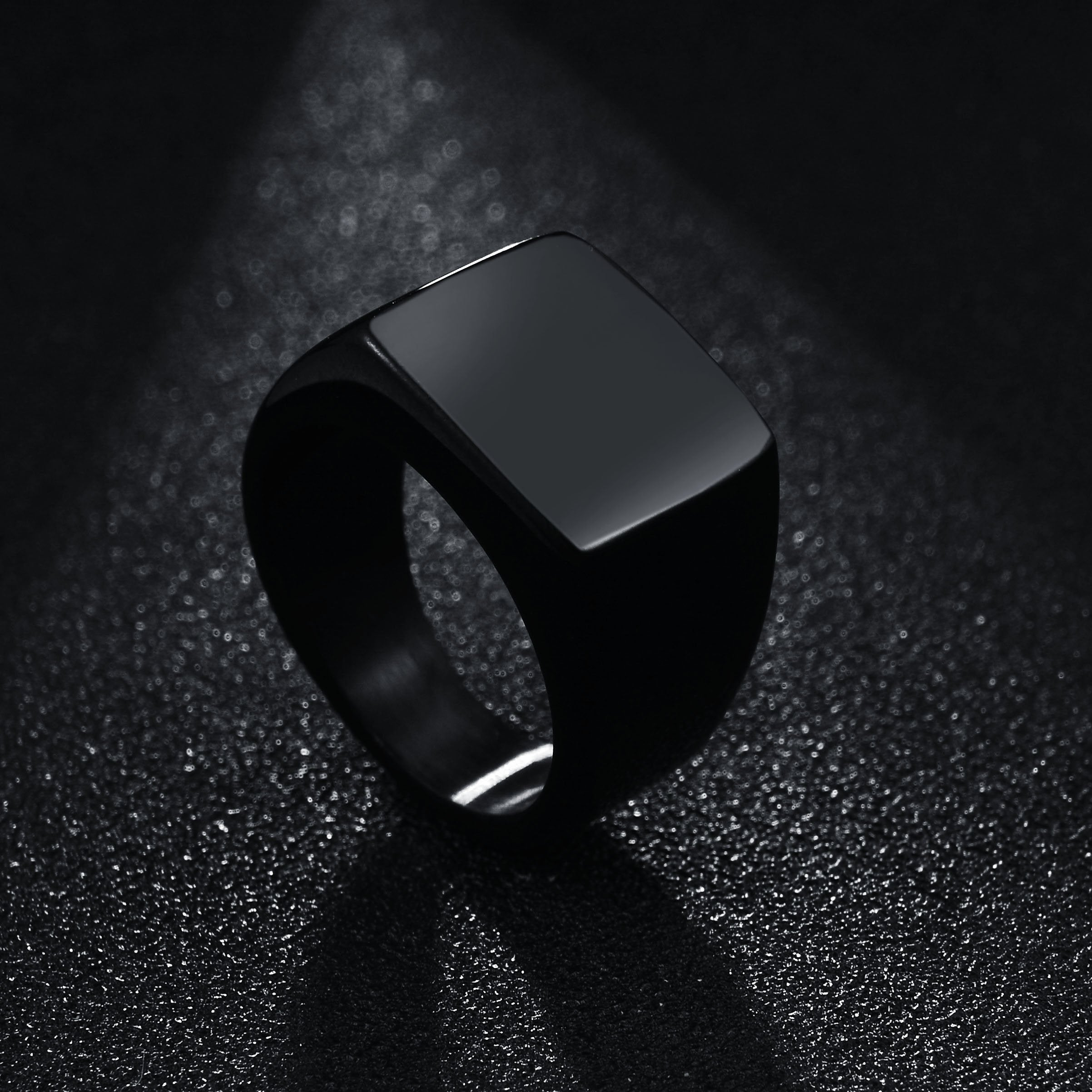 Titanium steel punk new big square can be customized custom stainless steel ring