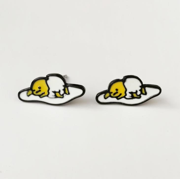 Dongmanli New Arrival Fashion Unique Designer Cute Enamel Fried Egg stud Earring For Women Gudetama Accessories