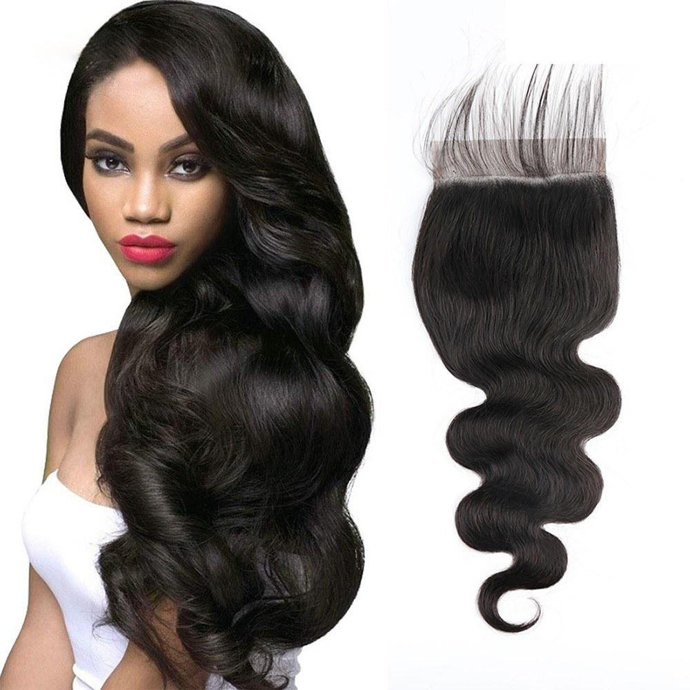 5x5 Lace Closure Body Wave Natural Color  Hair Styling Human Hair 150% Density with Baby Hair for Black