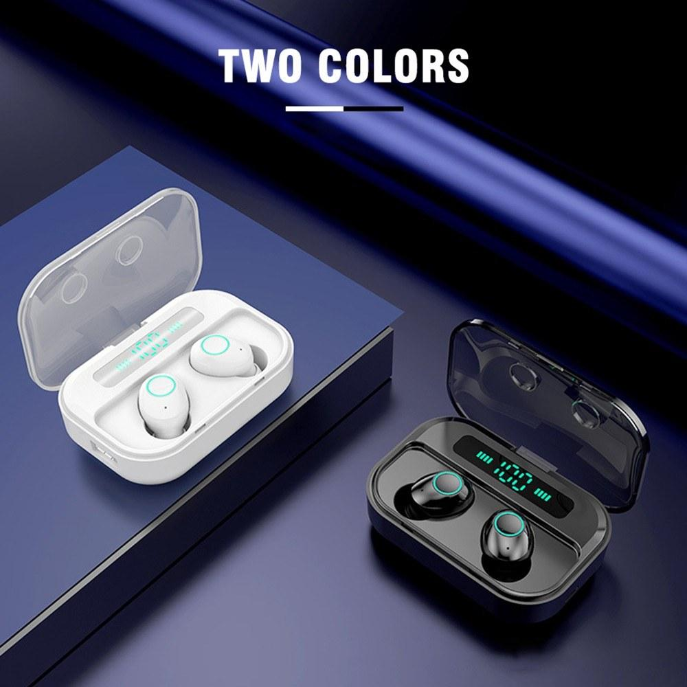 Bluetooth 5.0 TWS Earbuds True Wireless Headphones with Mic In-ear Stereo Earphones IPX7 Waterproof Twins Sports Headset Charging Box Battery Digital Display CVC8.0 Noise Reduction