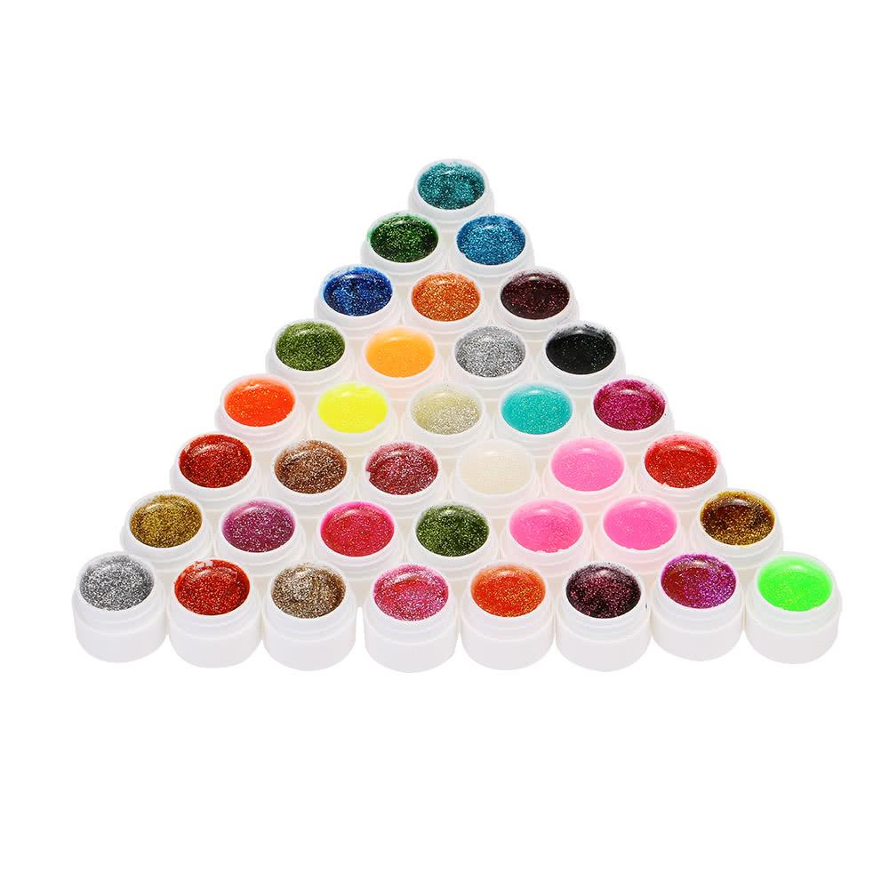 Anself 36pcs Mix Colors Glitter Powder UV Gel Nail Art Gel Polish Extension Professional UV Gel Set Builder Gel for Nail Varnish Nail Art Decorations Tools